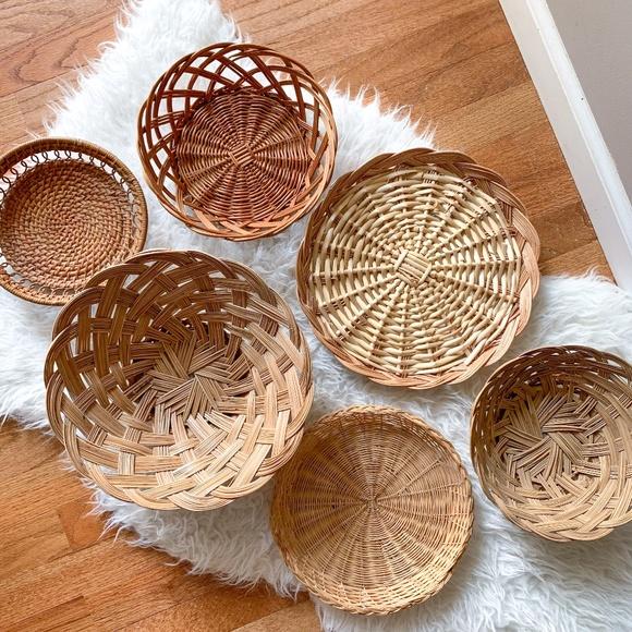 6 Piece Boho Wicker Basket Gallery Wall